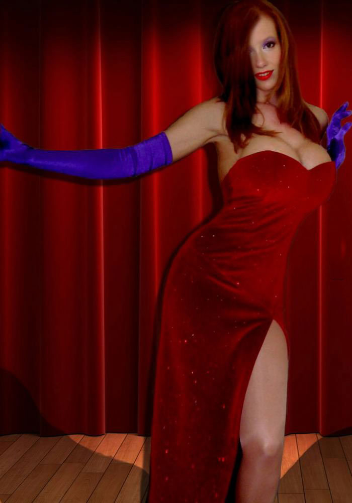 jessica rabbit cosplay, win, sexy lady costume