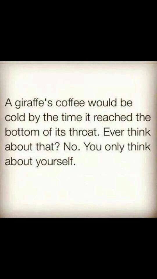 a giraffe's coffee would be cold by the time it reached the bottom of its throat, ever think about that?, no you you only think about yourself