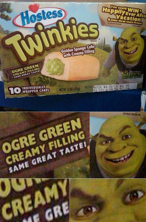 ogre green cream filling twinkies, that look