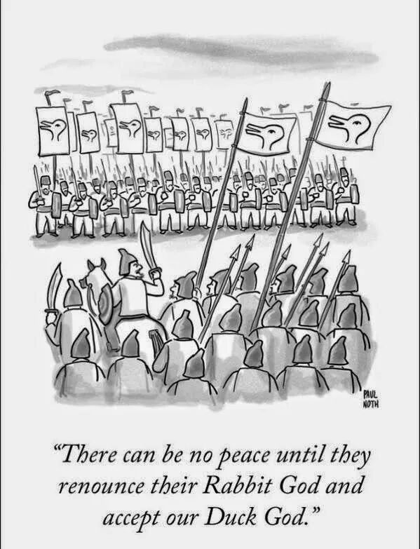 there can be no peace until they renounce their rabbit god and accept our duck god, religion, paul noth, caricature