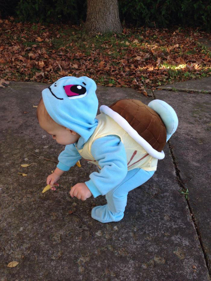 look i found a wild squirtle, baby in cute pokemon costume, halloween