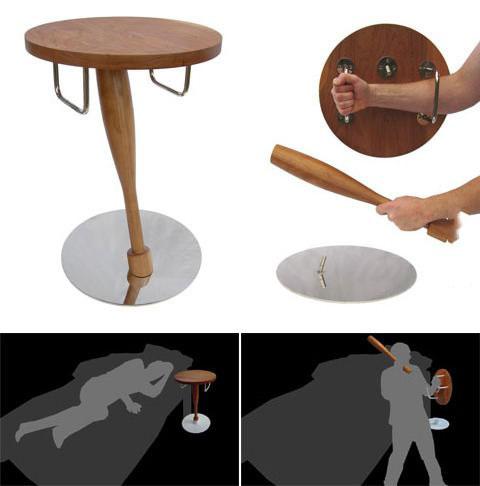self defense side table kit, baseball bat and shield, product, win