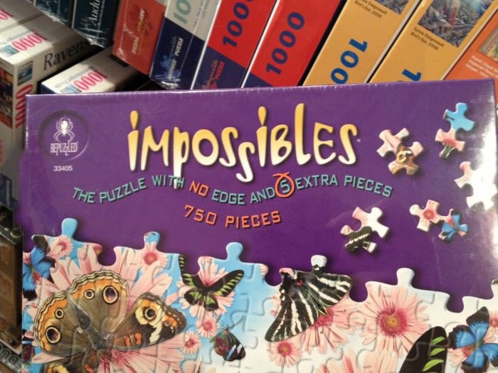 impossibles the puzzles with no edge and 5 extra pieces, 750 pieces puzzle
