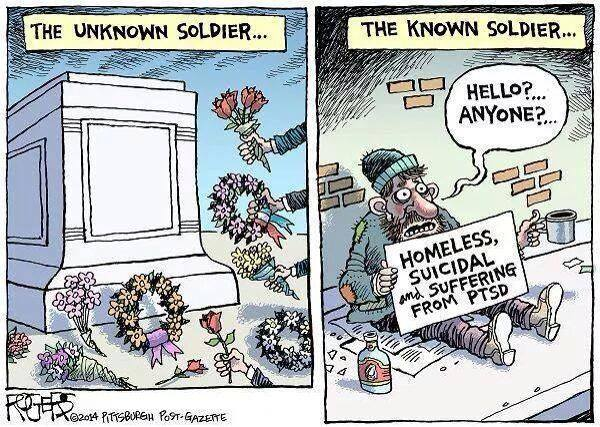 how we treat our veterans is disgraceful, until they die, the unknown solder versus the known soldier, social commentary