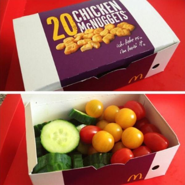 mcdonalds 20 mcnuggets box full of vegetables, troll, prank