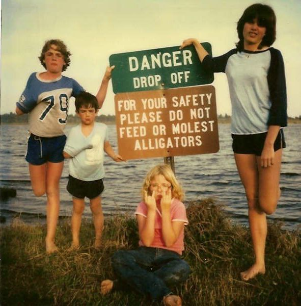 for your safety please do not feed or molest alligators, sign, wtf