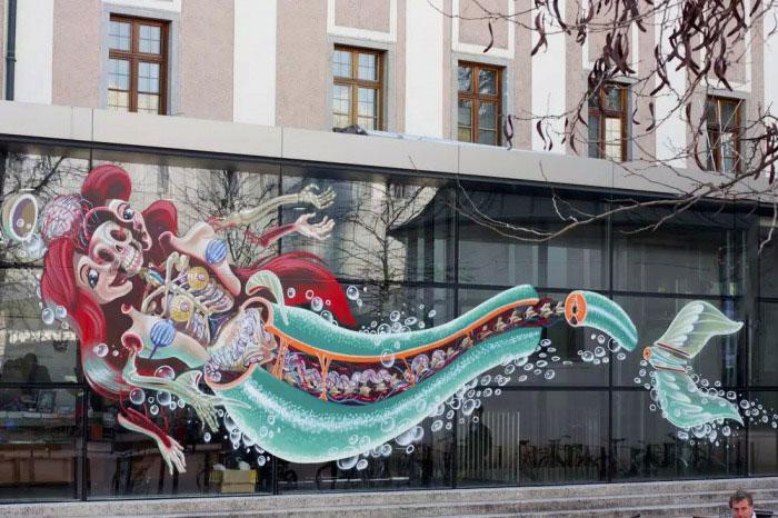 deconstructed ariel graffiti, win, street art