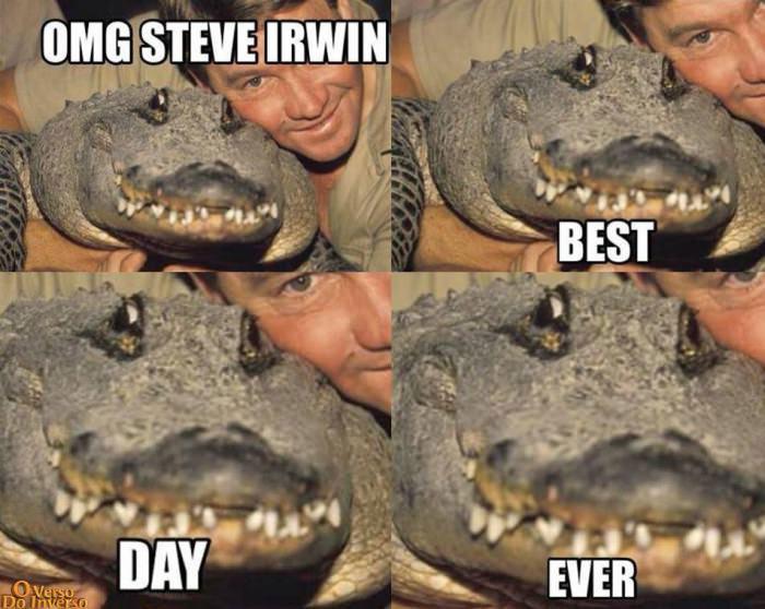 omg steve irwin, best day ever, smiling crocodile