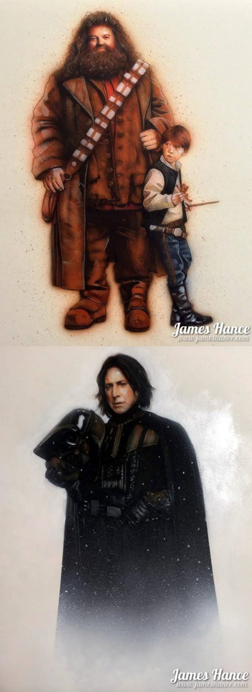 hagrid and harry potter as chewbacca and luke skywalker, snape as darth vader