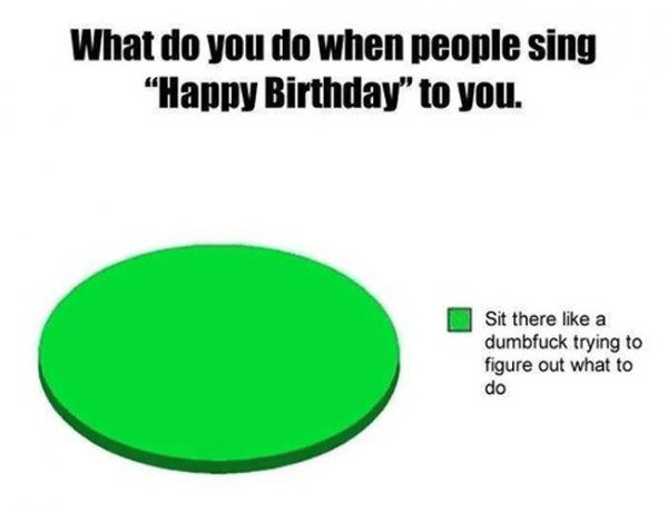 what do you do when people sing happy birthday to you, sit there like dumbfuck trying to figure what to do, pie chart