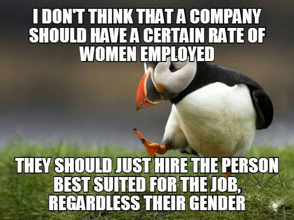i don't think that a company should have a certain rate of women employed, they should just hire the person best suited for the job, regardless of their gender, unpopular opinion puffin, meme