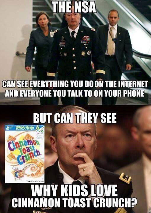 the nsa can see everything you do on the internet and everyone you talk to on your phone, but can the see why kids love cinnamon toast crunch?