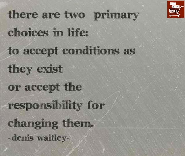 there are two primary choices in life, to accept conditions as they exist or accept the responsibility for changing them, denis waitley