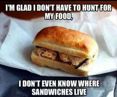 i'm glad i don't have to hunt for my food, i don't even know where sandwiches live, meme