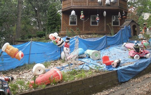 bad neighbor of the day: man's holiday display terrorizing people for years