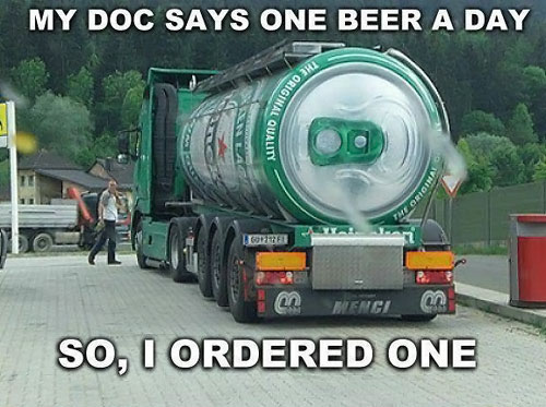 my doc says one beer a day, so i ordered one, giant heineken can