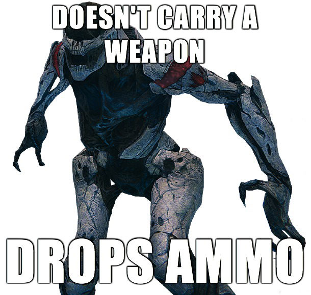 doesn't carry a weapon, drops ammo, video game logic, meme