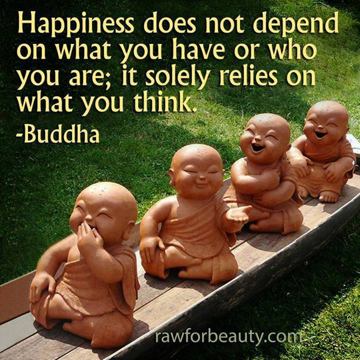 happiness does not depend on what you have or who you are, it solely relies on what you think, buddha