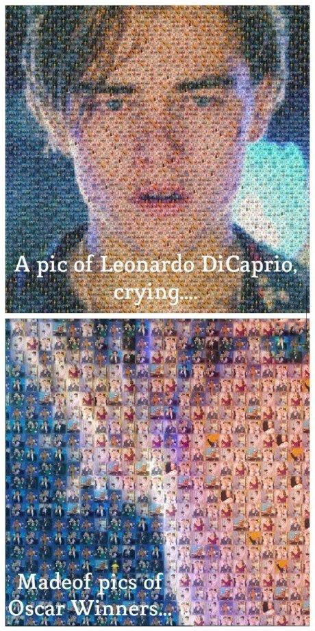 a pic of leonardo dicaprio crying, made of pics of oscar winners
