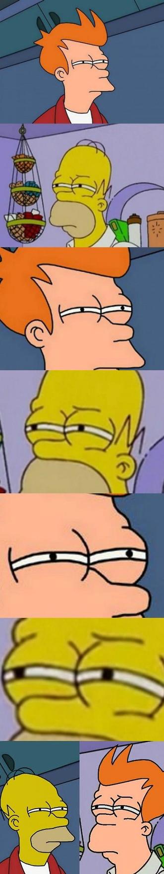 fry versus homer in a squinty eye off, face swap