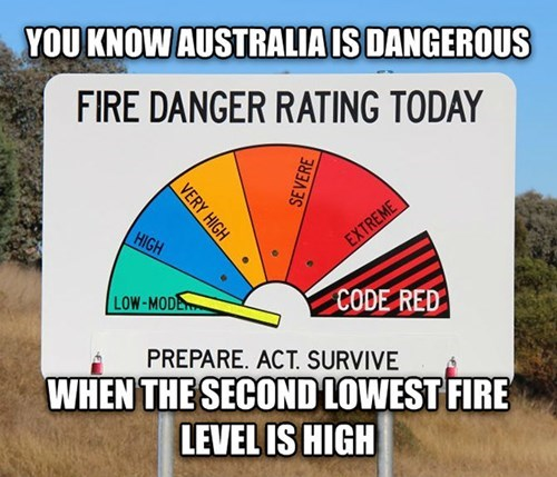 you know australia is dangerous, when the second lowest fire level is high, australia, you scary for so many reasons, fire danger rating today, sign