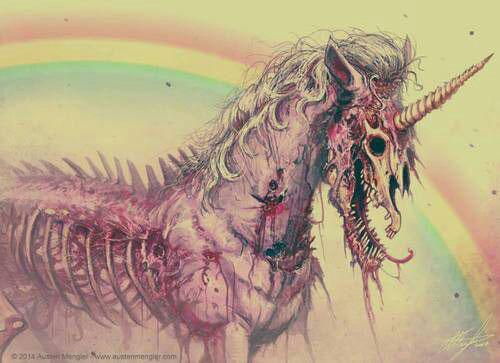 gory zombie unicorn, wtf, rainbow, art