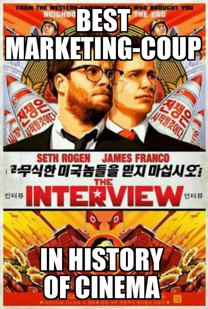 best marketing coup in history of cinema, the interview