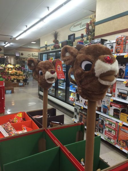 rudolf the red nose reindeer's had on a spike