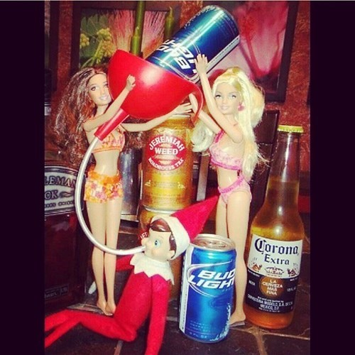beer bong elves and barbie dolls, christmas drunks, wtf, lol
