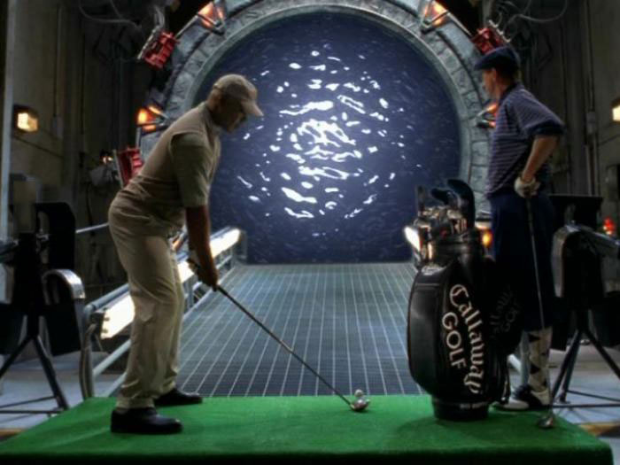 teal'c and jack o'neill golfing into a stargate, stargate sg1