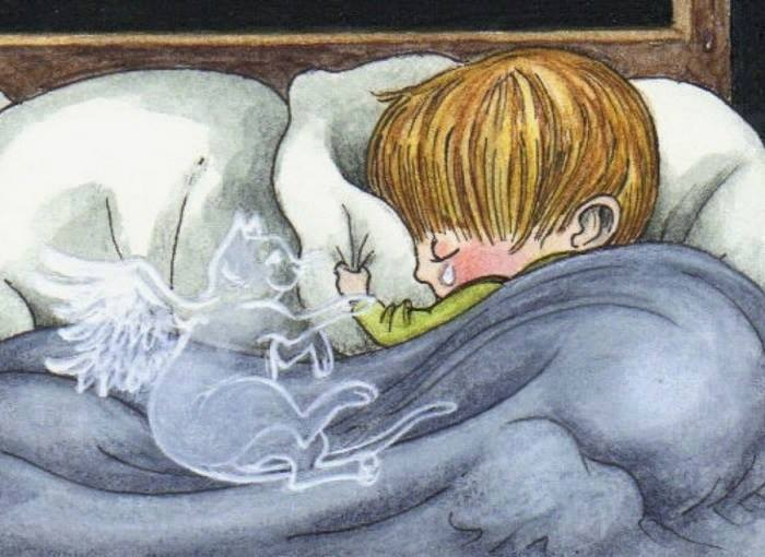 for all those who have lost a furry friend, cat angel ghost holding crying kid's arm