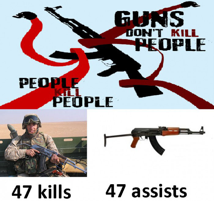 guns don't kill people, people kill people, or maybe guns just contribute assists