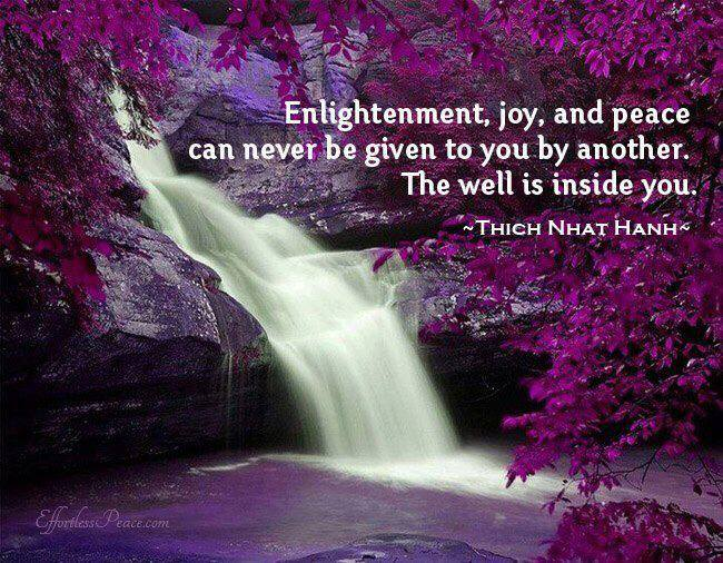 enlightenment joy and peace can never be given to you by another, the well is inside you