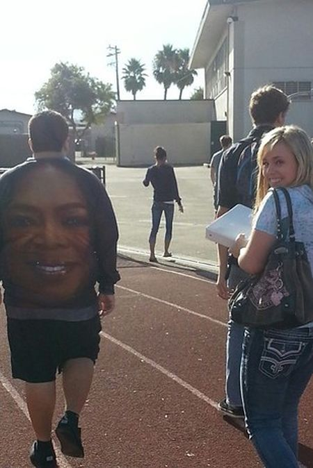 oprah face on the back of a shirt, wtf, poorly dressed