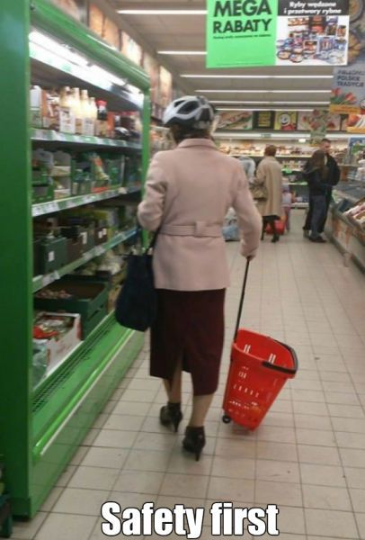safety first, helmet in the supermarket, wtf, meme