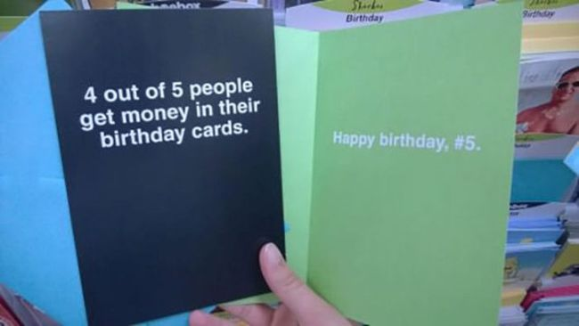 4 out of 5 people get money in their birthday cards, happy birthday number 5