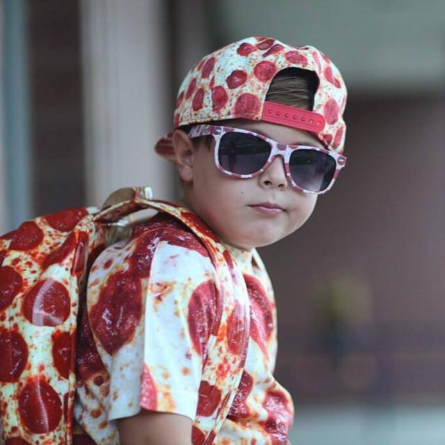 kid wearing pepperoni pizza clothes, shirt, hat, back pack