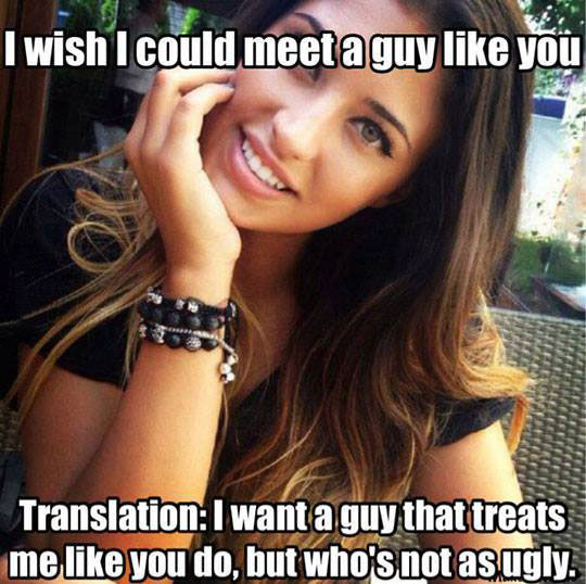 i wish i could meet a guy like you, translation i want a guy that treats me like you do, but who's not as ugly, meme