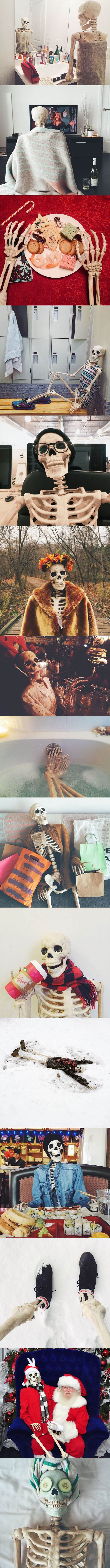 just your average girl on instagram these days, skeleton in various daily activities