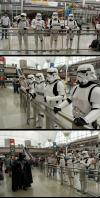 stormtroopers waiting for darth vader at the airport