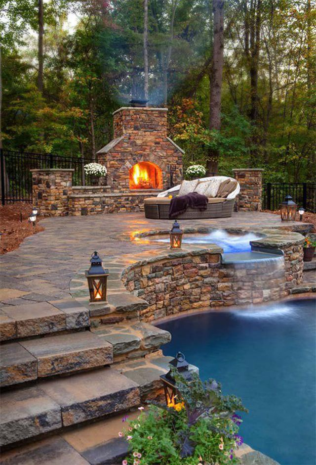 really nice back yard, water fall pool, fire house, lanterns