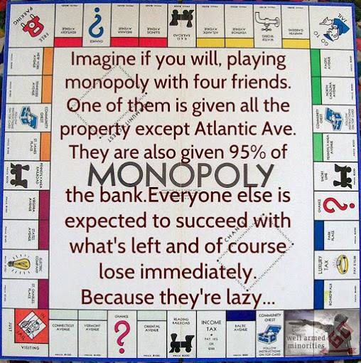 imagine if you will, playing monopoly with four friends, one of them is given all the property except atlantic avenue, they are also given 95% of the bank, everyone else is expected to succeed with what's left and of course they lose immediately because they are lazy