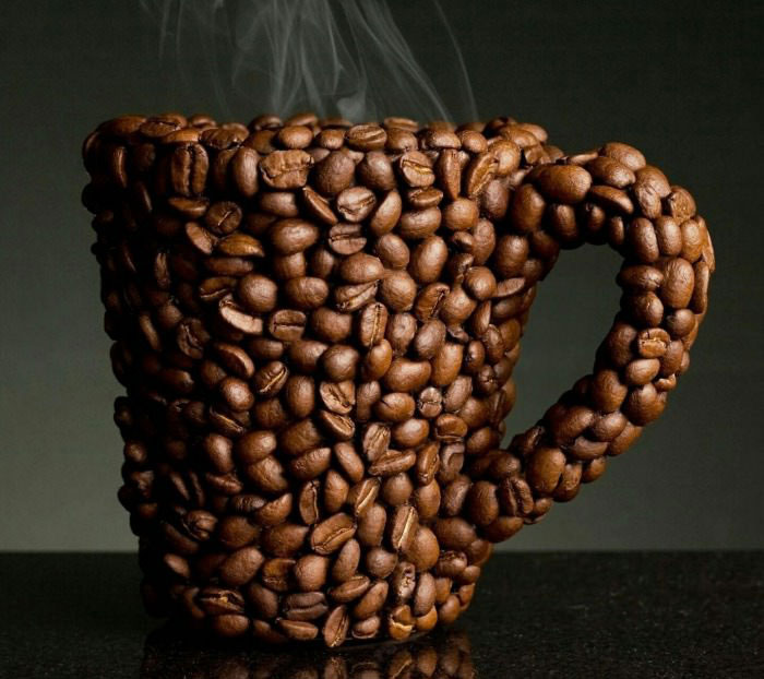 coffee mug made out of coffee beans, can you smell it?