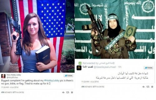 when conservative values look awfully familiar to something other group's values, isis, rifle, holy book, flag