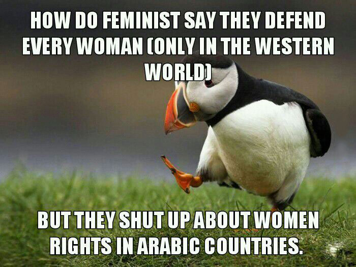 how do feminists say they defend every woman [only in the western world], but they shut up about women rights in arabic countries, unpopular opinion puffin, meme