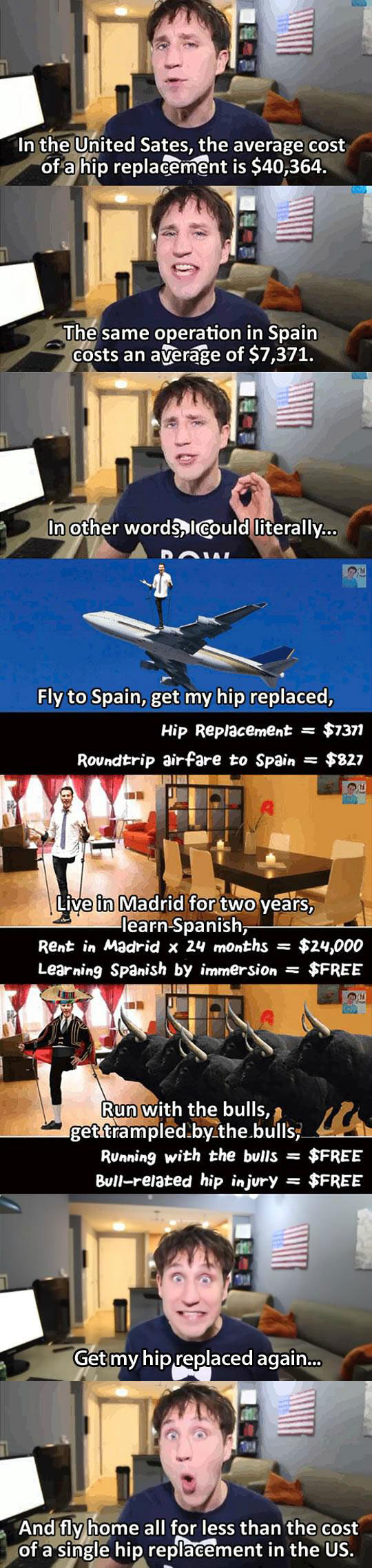in the united states the average cost of a hip replacement is $40364, the same operation in spain costs an average of $7371