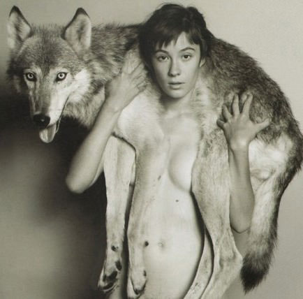 just some girl with her wolf
