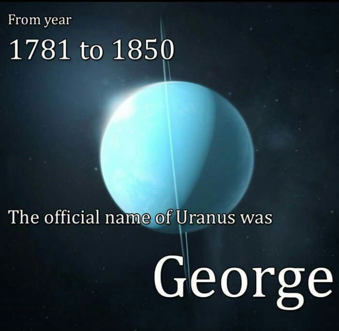 from year 1781 to 1850, the official name of uranus was george