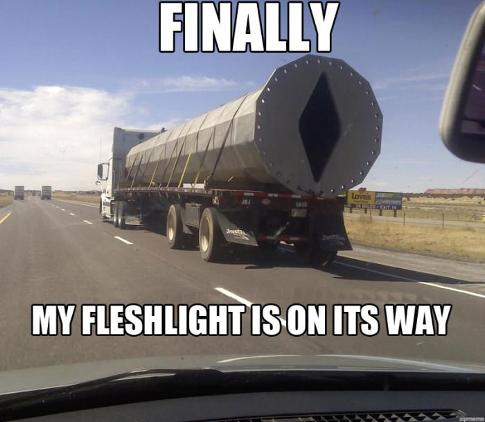 finally my flashlight is on its way, meme, large truck