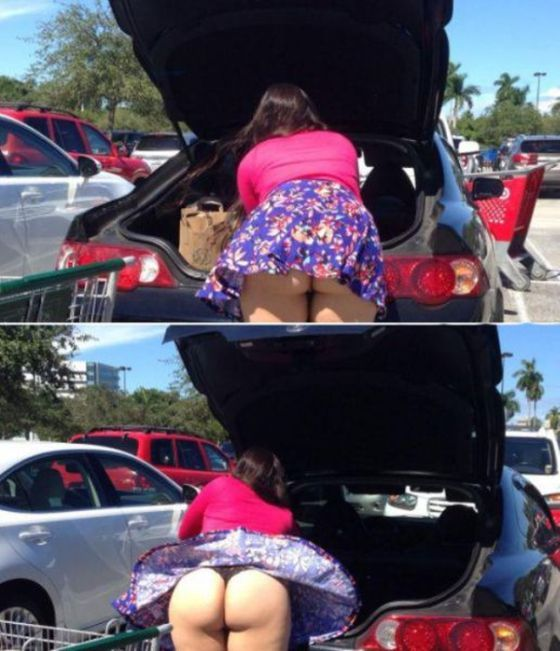 short skirts are a risk while you load your trunk